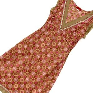 Ticci Tonetto Pink & Gold Paisley Dress